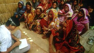Women members of the Grameen Bank meet in Bangladesh. Picture taken in 1992