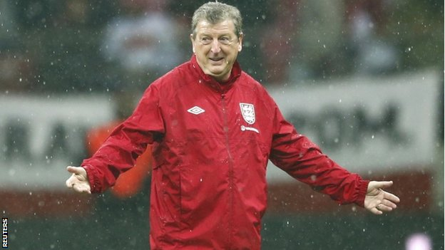 Roy Hodgson on the pitch in Poland