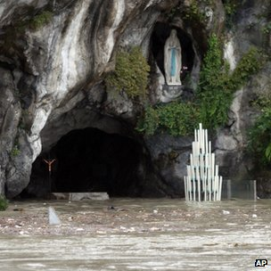 The flooded Grotto in Lourdes. Photo: 20 October 2012