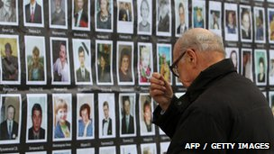 A man crosses himself in front of the portraits of the Nord-Ost musical hostage drama victims at the Dubrovka Theatre in Moscow