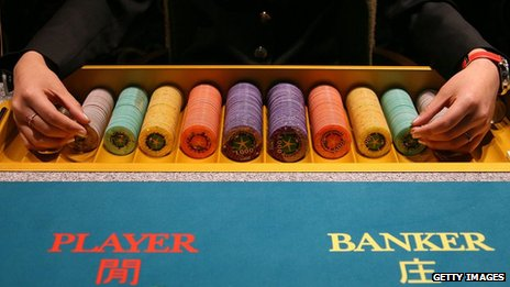 Lines of gambling chips at a Macao casino