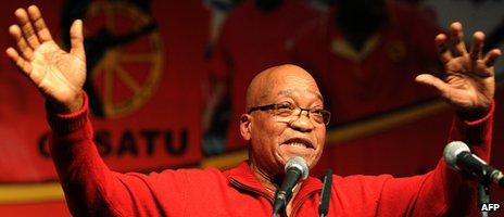 President Jacob addresses workers in Johannesburg on 12 September 2012