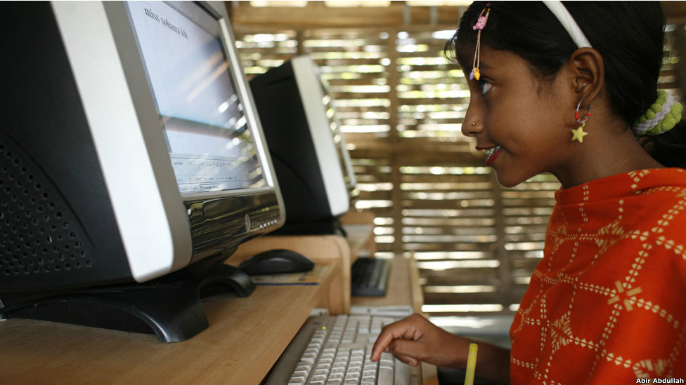 A girl works on a computer
