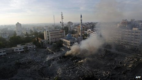 Destroyed compound of the internal security ministry in Gaza City, 21 Nov