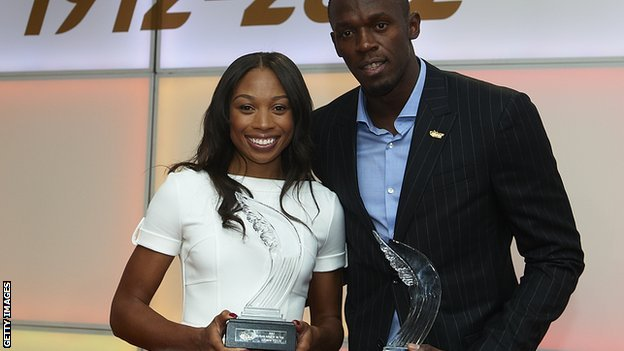 Allyson Felix and Usain Bolt