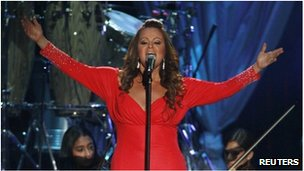 Mexican-American singer Jenni Rivera performs during the 2012 Billboard Latin Music Awards in Coral Gables, Florida, on 26 April 2012.
