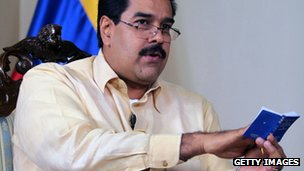 Venezuelan Vice-President Nicolas Maduro during a TV appearance, 4 January 2013