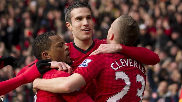 Manchester United striker Robin van Persie (centre) scored the opener against Liverpool