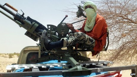 An Islamist rebel is pictured on April 24, 2012 near Timbuktu in northern Mali