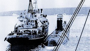 K-27 sub being towed prior to being scuttled off Novaya Zemlya, 1981