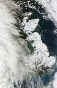 UK in the snow from space