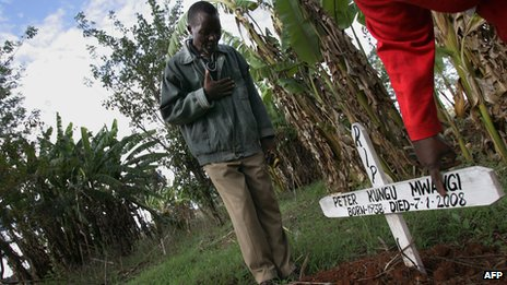 A man at the grave of a neighbour in western Kenya  on 19 April 2008