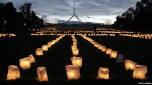 Candles laid out to read sorry glow outside of Parliament House on 11 February 2008 in Canberra, Australia