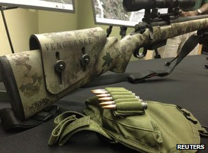 "A Remington Model 700 with the word ""Vengeance"" printed on it belonging to Christopher Dorner"