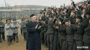 Video grab of Kim Jong-un visiting military at undisclosed location. 8 March 2013
