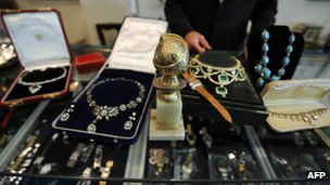Jewellery and luxury watches at a pawnshop