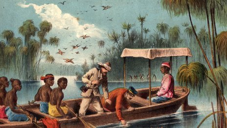 Henry Stanley and David Livingstone are paddled by natives along the river Rusigi