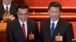 President Xi Jinping (R) and Premier Li Keqiang's appointment marks the end of top leadership change in China