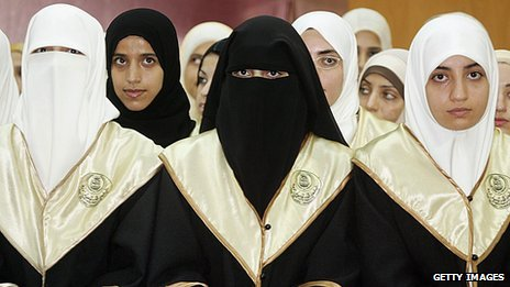 Graduation ceremony of Palestinian engineering students at The Islamic University of Gaza on July 31, 2005. All of the student are women wearing Islamic head scarf. Some of them wear Niqab.