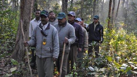 Anti-poaching team in the Chitwan national park
