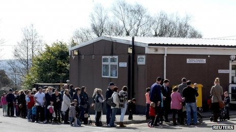 Queues at Morriston Hospital on Saturday