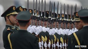 Members of the People's Liberation Army guard of honour, 15 April 2013