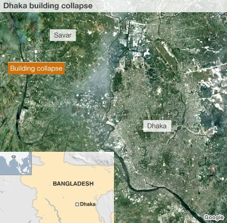 Map showing location of the collapsed building within Dhaka