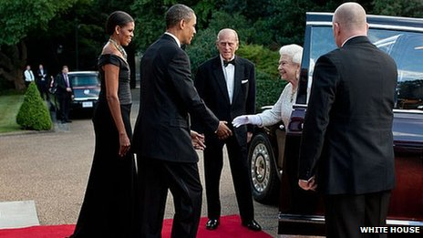 Barack and Michelle Obama meet the Queen 25 May 2011