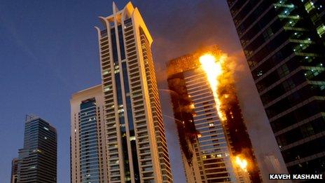 Tamweel Tower on fire in Dubai (November 2012)