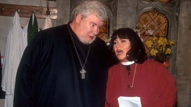 The late Richard Griffiths as the bishop and DAWN FRENCH as The Vicar of Dibley, Geraldine Grainger in church