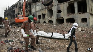 Body carried from Rana Plaza. 9 May 2013