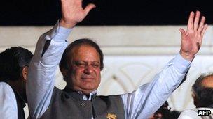 Former Pakistani PM Nawaz Sharif celebrates in Lahore. 11 May 2013
