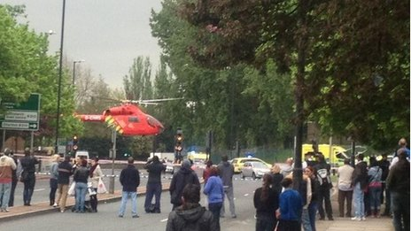 A helicopter at the scene