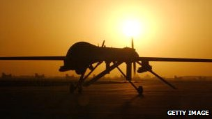 Predator drone on a runway