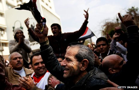 Anti-government protesters demonstrate near the Egyptian Parliament building on 9 February, 2011, in Cairo, Egypt