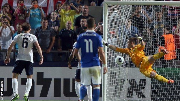 השער של אינסינייה מול נבחרת אנגליה. צילום: GettyImages