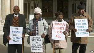 Wambuga Wa Nyingi, Jane Muthoni Mara, Paulo Muoka Nzili and Ndiku Mutwiwa Mutua outside the Royal Courts of Justice in April