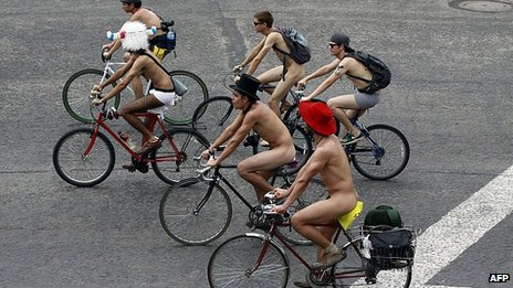 Naked and semi-naked cyclists in Mexico City. 8 June 2013