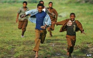 Boys running, Ethiopia