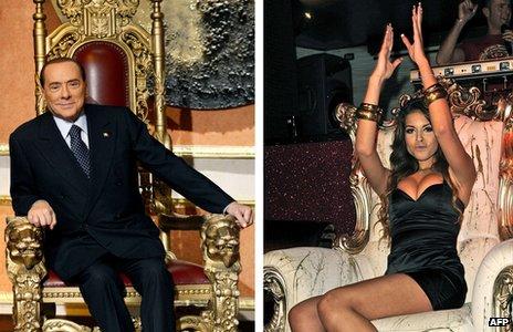 Composite image of Silvio Berlusconi (l) and Karima El-Mahroug (r)