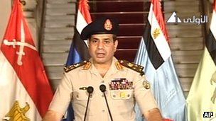 General Abdul Fattah al-Sisi, addressing the nation on Egyptian State Television Wednesday, July 3, 2013