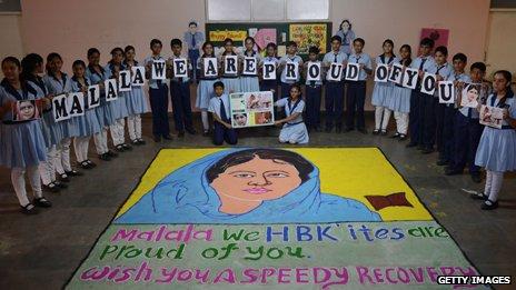 Indian schoolchildren pay tribute to Malala