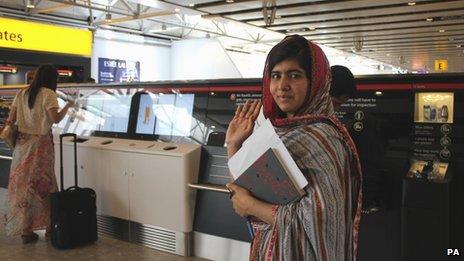 Malala at Heathrow Airport