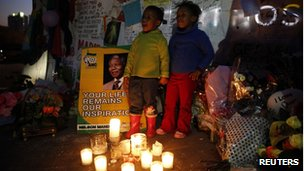 Children sing Happy Birthday to Mr Mandela on the eve of his birthday on 17 July 2013