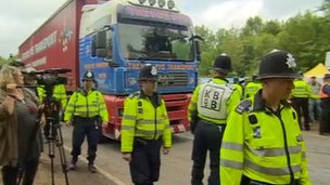 Lorry arriving at Balcombe site