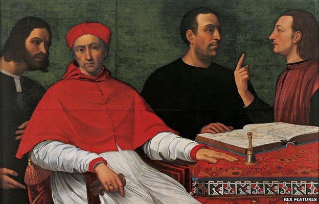 From left to right: Cesare Borgia, Cardinal Pedro Luis de Borgia, Niccolo Machiavelli and secretary Micheletto Corella