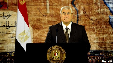 Interim president Adly Mansour makes TV address. 7 Aug 2013