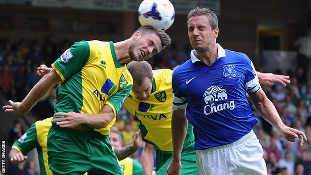Norwich and Everton in action at Carrow Road