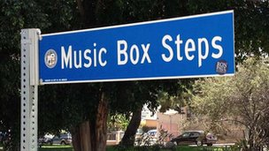 Sign marks Music Box steps