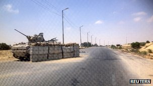 An army check point is north Sinai. Photo: July 2013